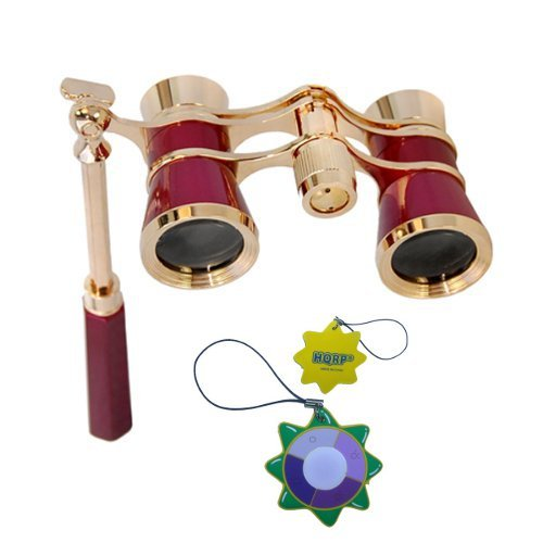 Hqrp Opera Glasses Burgundy With Gold Trim W/ Built-In Extendable Handle Plus Hqrp Uv Meter