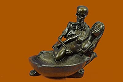"***CLEARANCE DEAL***Art Deco Hot Cast Skeleton With Nude Girl A Figurines, Gifts, Collectibles Bronze Sculptures, Statues... 4""x4"" 3 LBS. Real Bronze."