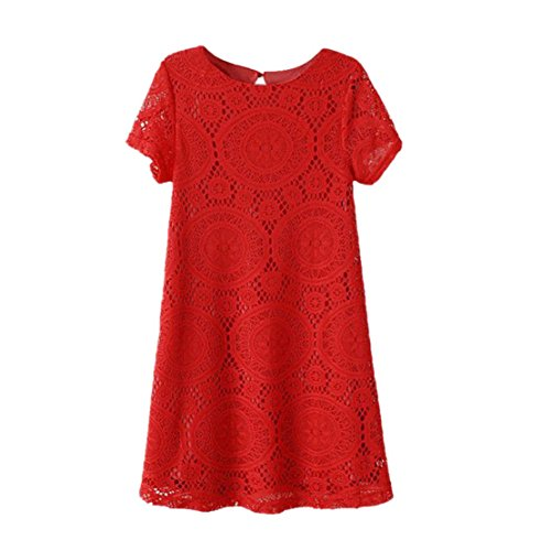 Towallmark(Tm)Women Short Sleeve Lace Cocktail Party Loose Mini Dress (Asia M, Red)