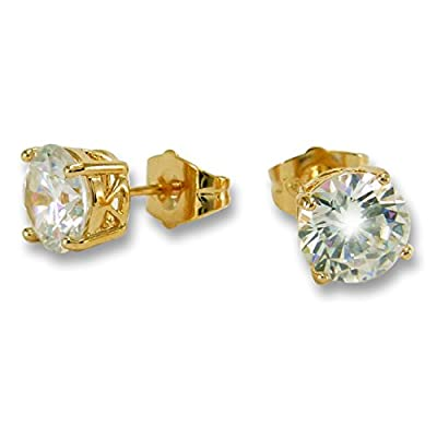 Large 9ct Gold Filled 8mm Simulated White Diamond Stud Earrings Unisex