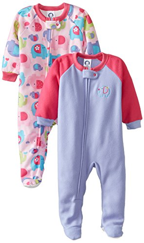 Gerber Baby-Girls Infant 2 Pack Girl Blanket Sleeper, Elephant, 18 Months