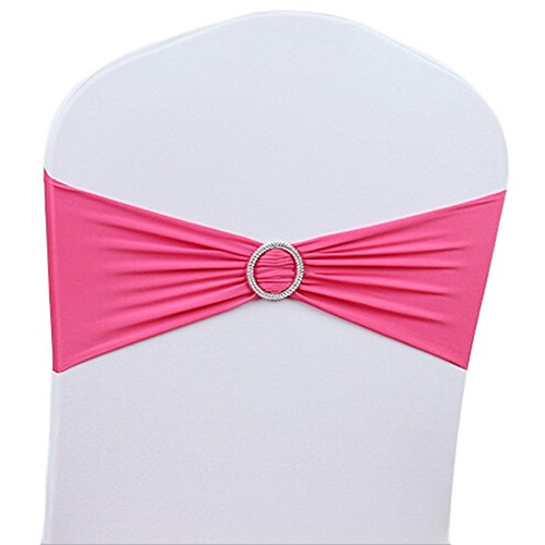 V-Dragons Stretch Chair Cover Band With Buckle Slider Sashes Bow Wedding Banquet Party Decorations (100, Hot Pink)