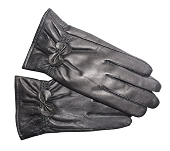 ATHN Ladies' Black Winter Sheepskin Leather Fully Lined Gloves With Decorative Bo