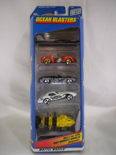 Hot Wheels OCEAN BLASTERS 5 Vehicle Gift Pack (1998)