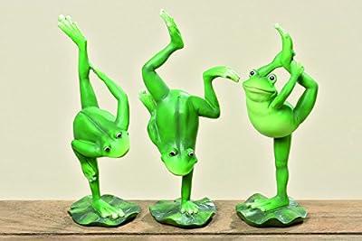 3 er Set Yoga Frösche je ca. 24 cm groß Frosch Figur Gymnastik lustige Deko für Haus und Garten Tierfigur
