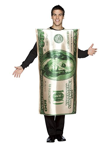 Adult Mens 100 Dollar Bill Costume Money Tunic