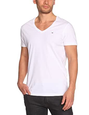 Hilfiger Denim - Panson - T-Shirt - Uni - Col V - Homme - Blanc (Classic White) - FR : Small (Taille Fabricant : S)