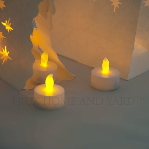 Frux Home and Yard Flameless Tea Lights - 24 Yellow Flickering LED Candles With Bonus Luminary Bags Included