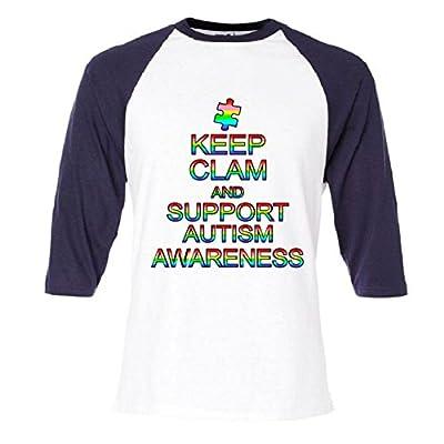 Keep Calm And Support Autism Awareness Raglan Baseball T-Shirt