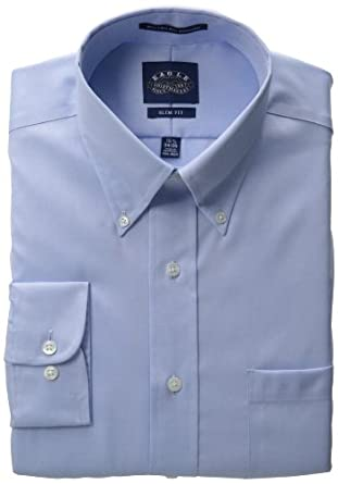 EAGLE Men's 100% Cotton Pinpoint Button Down Collar Non Iron Slim Fit Long Sleeve Dress Shirt,Blue Mist,16.5 32/33