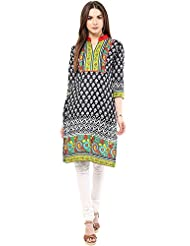Indi Dori Women's Cotton Black Printed Paisley Neck Kurti