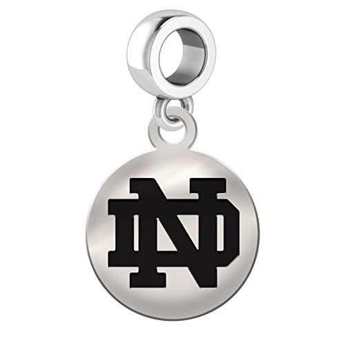 Notre Dame Fighting Irish Sterling Silver Round Drop Charm Fits European Style Bracelets