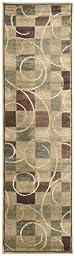 Nourison Interpretations Beige Geometric 2.3-Feet by 8-Feet Polyacrylic Runner Rug