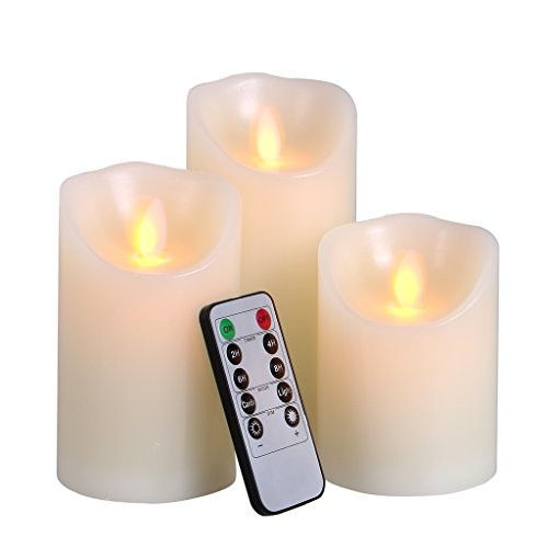 Big House Flickering Flameless Candles with Timer Remote Control 4 5 6 Inch set of 3 Real Wax Pillar Battery Operated LED Candle