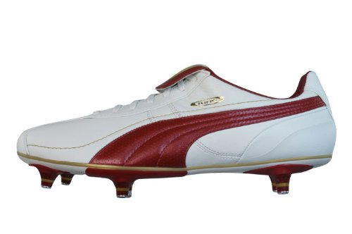 Puma King Xl Sg Mens Leather Soccer Boots / Cleats - White & Red - Size Us 9