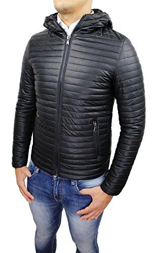Giubbotto giacca uomo ecopelle nero casual bomber piumino moto nuovo taglia S M L XL XXL (L)