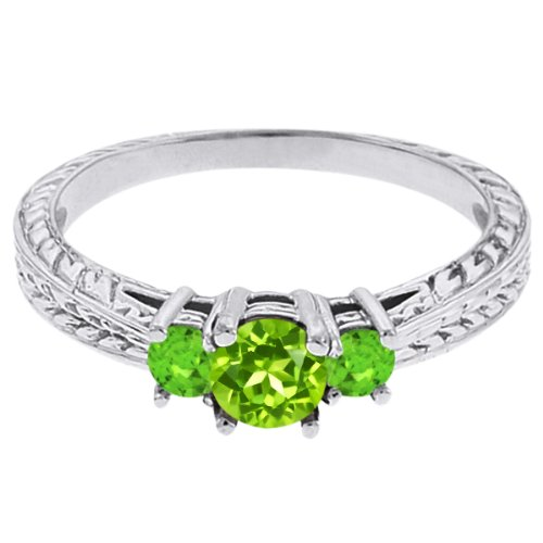 0.56 Ct Round Green Peridot Sapphire 18K White Gold 3-Stone Ring