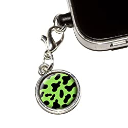 Graphics and More Cow Print Black Green Anti-Dust Plug Universal Fit 3.5mm Earphone Headset Jack Charm for Mobile Phones - 1 Pack - Non-Retail Packaging - Antiqued Silver