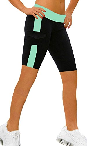 Women's YOGA Leggings Exercise Workout Shorts Size L Sky