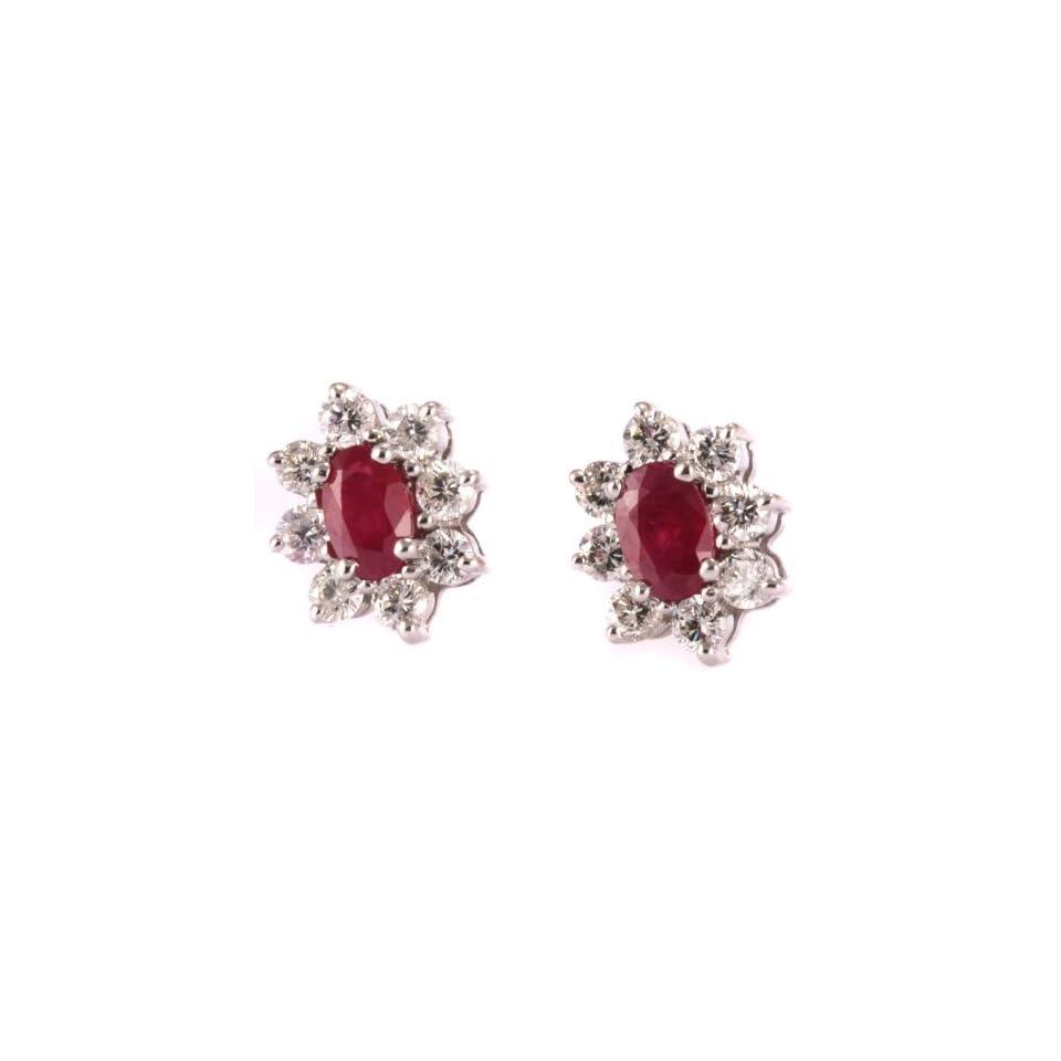 1.8 Carat White Gold Diamond Ruby Cluster Earrings