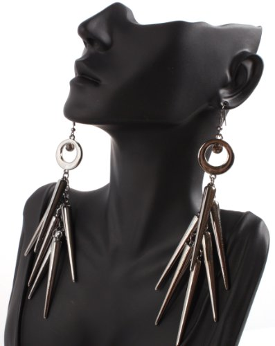 Black Lady Gaga Poparazzi Circle Earrings with Spikes Light Weight Basketball Wives