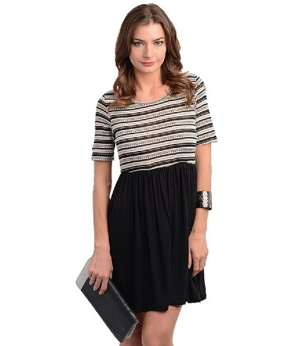 2Luv Women'S Intricate Striped Contrast Dress Ivory M(D3313)
