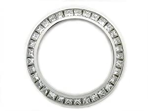 Ladies 1.50ct Princess Cut Diamond Bezel 14kw for Rolex