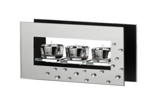Premier Housewares Mirror/ Glass 3 Tealight Holder, 24 x 6.3 x 12 cm Height