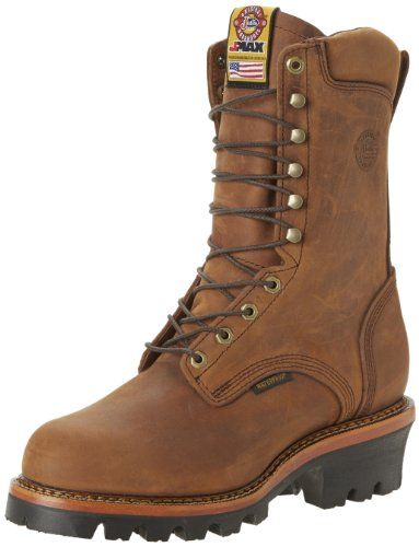 Justin Original Work Boots Men's Jmax Logger Steel TE Steel Toed Work Shoe,Rugged Aged Bark/Gaucho Waterproof,7 D US