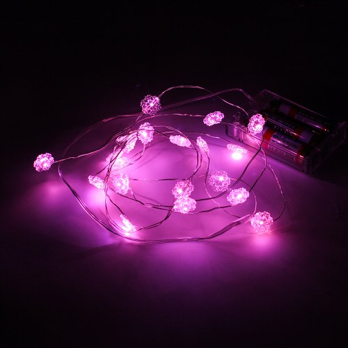 Supernight (Tm) Pink Snowflake Copper Led Lights Strings Christmas Party String Aa Battery Box Lighting Mini Decorative Led Strings 7Ft/2M 20 Leds