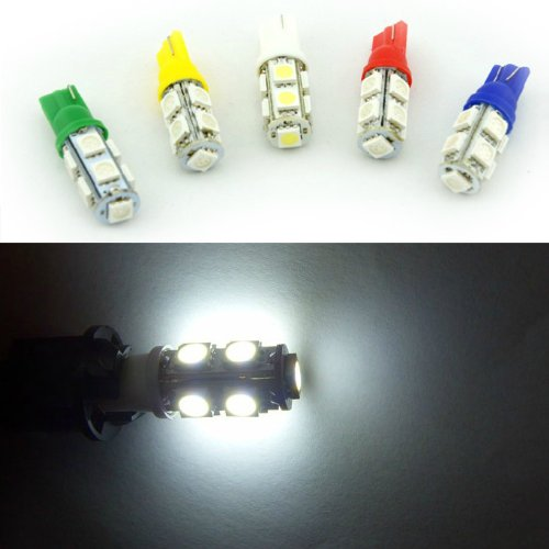 Qich 10Pcs / 5Pair / 10X T10 194 168 W5W 9Smd 9Led 5050 Smd Car Auto Led Wedge Light Bulb Led Lamp Interior Light (White)