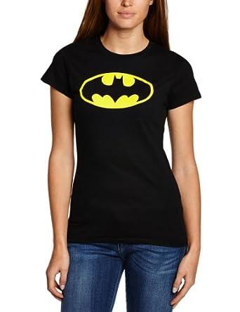DC Women's Batman Logo Crew Neck Short Sleeve T-Shirt, Black, Size 8 (Manufacturer Size:Small)