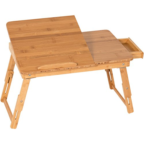 Best Choice Products 100% Bamboo Adjustable Laptop Desk Table Tilting Top Drawer Breakfast Bed Tray