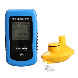 Vktech Wireless Sonar Fish Finder 125KHz 90°Beam Angle Fishing Alarm Waterproof by Vktech