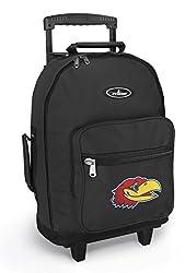 University of Kansas Rolling Backpack KU Jayhawks Logo Backpacks Bags with Whee