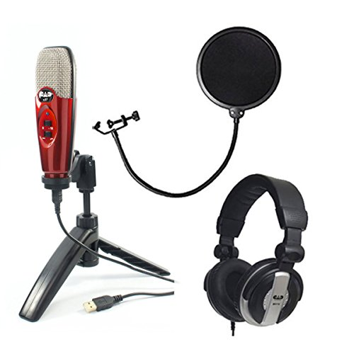 CAD Audio U37 USB Studio Condenser Vocal,Instrument & Recording Microphone, Candy Apple Red With CAD Audio 6″ Pop Filter on Gooseneck + CAD Audio MH110 Studio Monitor Headphones