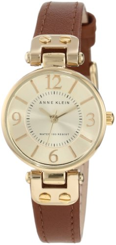 Anne Klein Women's 109442CHHY GoldTone Champagne Dial and Brown Leather Strap Watch Picture