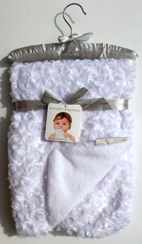 Blankets & Beyond White Swirl Blanket with Satin Hanger - 1