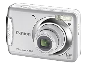 Canon Powershot A480 Digital Camera - Silver (10 MP, 3.3x Optical Zoom) 2.5 inch LCD