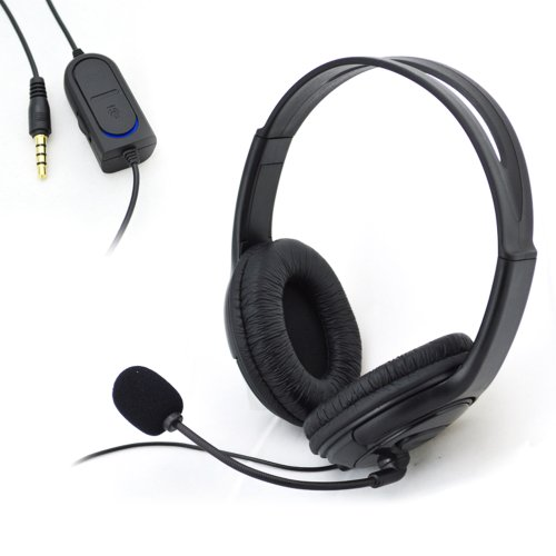 Primeshop-Handsfree Wired Headset Headphone For Sony Playstation 4 Ps4-Black