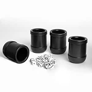 WE Games Dice Cups - Set of 4 Professional Grade Plastic with 20 Dice & Instructions for Liar's Dice