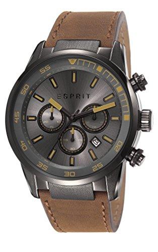 Esprit ES108021003 - Reloj de cuarzo para hombre, correa de cuero color marrón