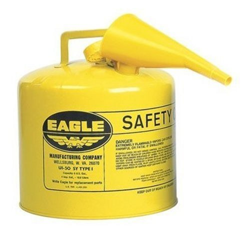 Images for Eagle UI-50-FSY Yellow Galvanized Steel Type I Diesel Safety Can with Funnel, 5 gallon Capacity, 13.5