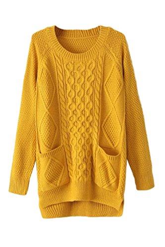 Pink Wind Womens Pocket Front Sweaters Vintage Geometric Knit Sweatshirt