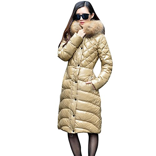 Aileen88 Women's Slim Faux Fur Trim Long Hooded Warm Down Coat Jacket Parka