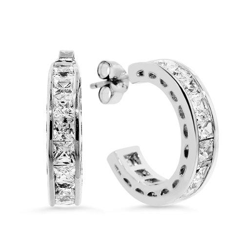 C.Z. 3Mm Princess Cut Hoop Earrings (Nice Holiday Gift, Special Black Firday Sale)