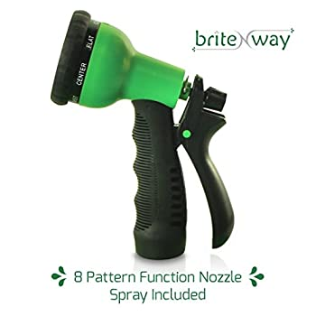 Expandable Garden Hose - 50 ft. Retractable, Lightweight & Flexible - 8 Pattern Function Watering Nozzle Gardening Spray Included - Enhanced Brass Fitting Connectors - Free Hanger & Storage Holder