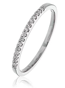 0.10CT Certified G/VS2 Round Brilliant Cut Claw Set Half Eternity Diamond Ring in 18K White Gold