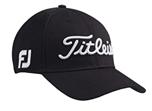 NEW Titleist Sports Mesh Fitted Black White M L Golf Hat Cap by Titleist