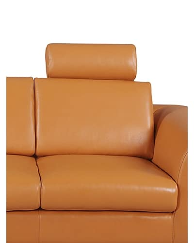 Furniture Contempo Angela Leather Loveseat/Chair Headrest, Camel